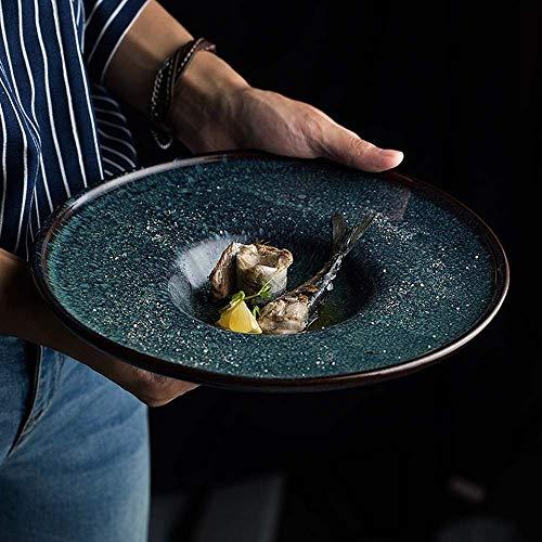 Keramische Platen van het Diner, Round dessertschotels Platen van het Diner for Risotto, fluffiest pannenkoeken, Retro Creative Straw Hat Plate