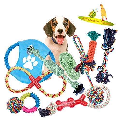 VIEWLON Hundespielzeug Welpe, Tau Hundespielzeug, Seil Spielzeug Hund, Interaktives Kauspielzeug Spielzeug, Vorteilhaft für die Zahnreinigung des Hundes, für Welpe Kleine/Mittlere Hunde.