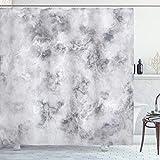 ABAKUHAUS Marmor Duschvorhang, Granit stürmt Details, Set inkl.12 Haken aus Stoff Wasserdicht Bakterie & Schimmel Abweichent, 175 x 180 cm, Blass Grauer Staub