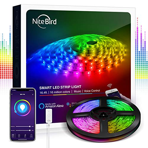NiteBird Smart LED Strip Lights Works with Alexa, Google Home,16.4ft WiFi APP Control RGB 5050 Brighter Color Changing...