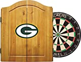 Imperial Official NFL Dart Boards for Adults with Cabinet, 6 Steel Tip Darts, Chalkboard Scorers, Green Bay Packers - Professional Bristle Dartboard Set - Premium Game Room Accessories and Decor