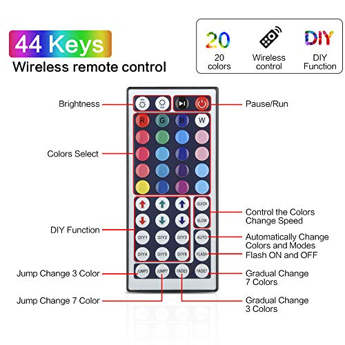 LED Strip Lights, YORMICK 32.8 feet Waterproof Flexible Tape Lights Color Changing 5050 RGB 300 LEDs Light Strips Kit with 44 Keys IR Remote Controller and 12V Power Adaptor for Home, Bedroom, Kitchen 6