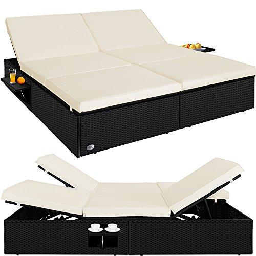 Deuba Sun Lounger Garden Bed King Size 160cm Double Recliner Poly Rattan Patio Outdoor Furniture Flip Tables Folding Weatherproof Cushions Black Brown