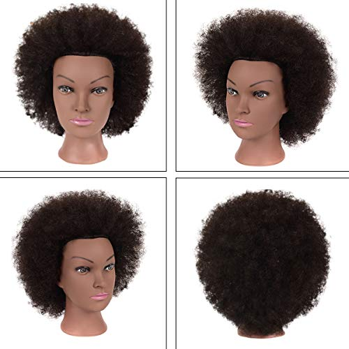 "9"" Afro Mannequin Head with Short Human Hair Natural Real 100% Human Hair Textured Hairdresser Training Head Manikin Cosmetology Doll for Hairdresser Practice Cornrow Styling Braiding with Clamp Stand"