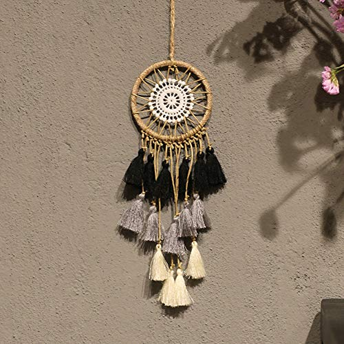 Artilady Small Dream Catcher for Cars - Bohemian Mini Dream Catchers for Cars Rear View Mirror Hanging Decoration (Black Grey White)
