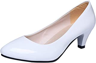 eea3657b3f5e4 FNKDOR Women's Round Toe Nude Shallow Mouth Women Office Work Party Heels  Wide Fit Shoes Elegant