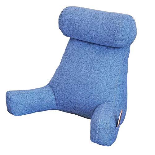Almohada de lectura para cama, cojín de apoyo lumbar acolchado para la espalda, asa de transporte, soportes para brazos resistentes, lectura, relajación o trabajo en el sofá