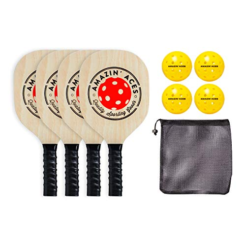 Amazin' Aces Pickleball Wood 4-Paddle Set - Pickleball Paddle Set Includes 4 Wood Pickleball Paddles, 4 Pickleballs, 1 Mesh Carry Bag, and 1 Quality Box
