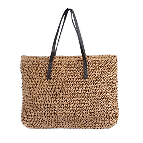 CHIKENCALL Frauen Straw Tote Bag Heißer Verkauf Strandtasche Sommer Strand häkeln Umhängetaschen Handtasche