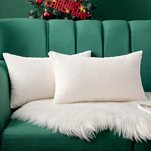 MIULEE Navidad 2 Piezas Fundas de Cojines Diseño Granulado Fundas de Almohada con Cremallera Invisible Protectores Poliéster Modernos Decorativa para Cama Sofa Dormitorio Hogar 30 x 50cm Blanco
