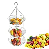 OUYAWEI Simple Hanging Iron Wire 3-Layer Storage Baskets for Fruit Flower Display