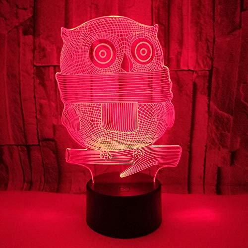 FREEZG Luces de noche 3D Búho animal arte Luces de noche para niños Lámpara de mesa 7 colores Control remoto táctil Decoración de dormitorio Cumpleaños para niños Regalo de Navidad