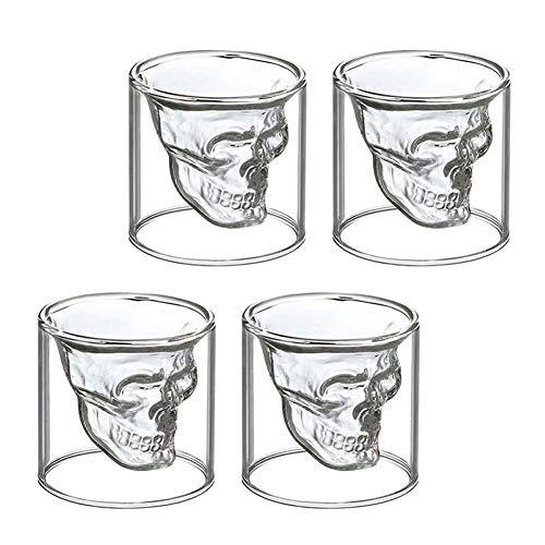 WANGIRL Elegante Juego de 4 Vasos de Chupito de Calavera Cristales de...