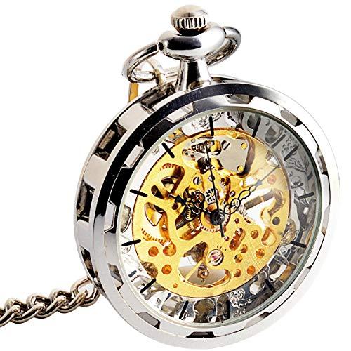 HLONGG Reloj de Bolsillo Open Face Silver Vintage Steampunk Ste Steampunk Ver a través de la Cadena mecánica para el día de cumpleaños Día del Aniversario Día de los Padres,Plata