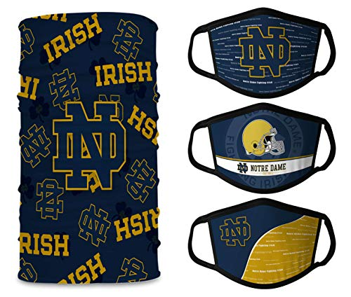 Notre Dame Face Mask 3 Pcs+Neck Gaiter 1 Pack, Fighting Irish Black Face Masks Washable,Face Shield for Men Women,Home Office,College Football Essentials
