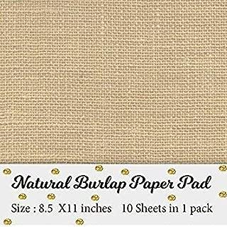 Printable Natural Burlap Paper Pad   Burlap scrapbooking supplies   Laminated Burlap Paper for Burlap Prints   Burlap card stock - Size 8.5 inches x 11 inches - 10 sheets in 1 pack