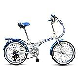 LI SHI XIANG SHOP Bici Plegable 7 Velocidad Variable 20 Pulgadas Estudiante Adulto luz Adolescente Que Lleva Bicicleta (Color : Azul)
