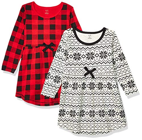 Touched by Nature Girls' Organic Cotton Short-Sleeve Dresses, Buffalo Plaid, 12-18 Months