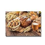 Wxueh Moderno Tema De Cocina Lienzo Pintura Pan Leche Carteles Impresión En Lienzo Cuadro De Arte De Pared Para Cocina Decoración Del Hogar-60X90Cmx1Pcs-Sin Marco