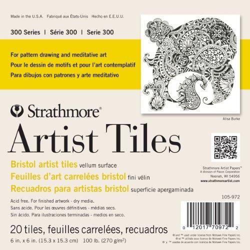 Strathmore 300 Series Bristol Artist Tiles, Vellum, 6'x6', White, 20 Sheets