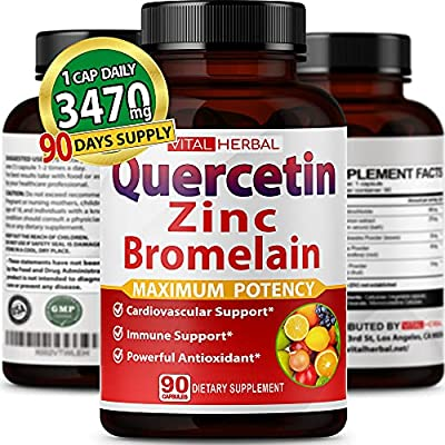 Quercetin + Bromelain 3470mg Maximum Potency with Green Tea Leaf Ashwagandha Black Pepper - Supports Overall Health (1 Bottle) (90 Counts)