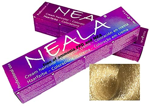 NEALA tinte permanente profesional para el cabello sin amoniaco y sin PPD, 3.4 onzas líquidas - 12.7- SUPERACLARANTE ARENA - NEALA 100ml.