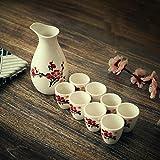 AMYZ Juego de Sake Juego de Tazas de Sake japonés Diseño Tradicional Pintado a Mano Cerámica de Porcelana Tazas de cerámica Artesanía Copas de Vino 9 Piezas,C