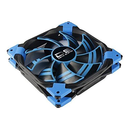 AeroCool Dsfan - PC-Gaming-Lüfter (14 cm, 12V/7V, 9 Blades, 15, 8 dB, LED-Beleuchtung, ultraleise, Vibrationssicher, 100.000H Lebensdauer), Blaue Farbe
