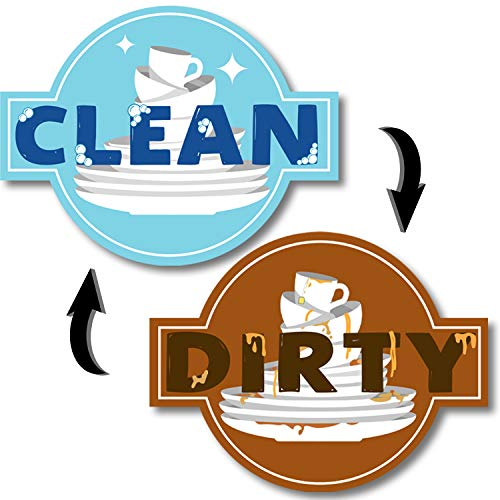 Dishwasher Magnet Clean Dirty Double Sided Flip Sign For Stainless Steel Dishwasher - 3.5' x 2.5'
