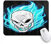 VAMIX マウスパッド 個性的 おしゃれ 柔軟 かわいい ゴム製裏面 ゲーミングマウスパッド PC ノートパソコン オフィス用 デスクマット 滑り止め 耐久性が良い おもしろいパターン (ゴーストライダーを取り巻く青い炎)