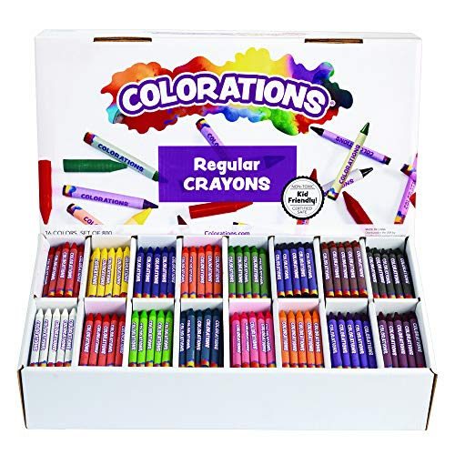 Colorations Regular Crayons Classroom Set 16 Colors 800 Crayons, Orange (CRRGSIXT)