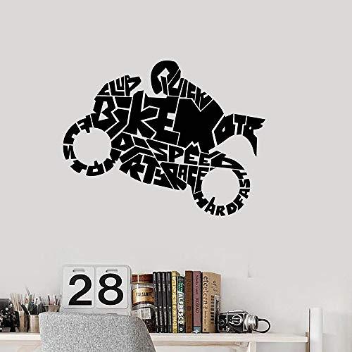 Etiqueta engomada de la pared del motociclista de dibujos animados etiqueta de la pared del dormitorio de la sala de estar moderna Mural autoadhesivo impermeable etiqueta de la pared A5 57x74cm