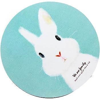マウスパッド丸型 個性的 おしゃれ 柔軟 かわいい ゴム製裏面 ゲーミングマウスパッド PC ノートパソコン オフィス用 円形 デスクマット 滑り止め 耐久性が良い おもしろいパターン (白いうさぎ)