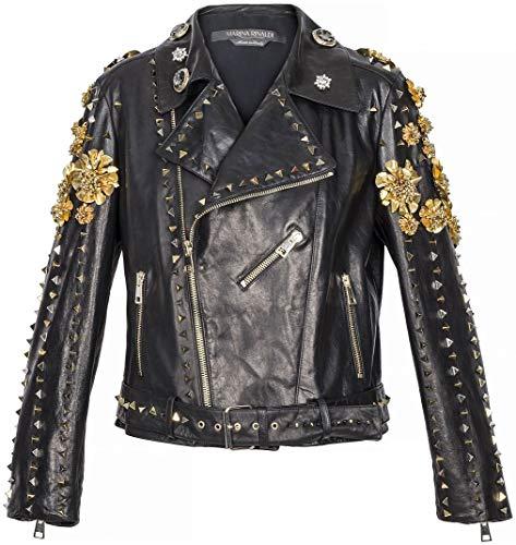 Fausto PUGLISI X Marina Rinaldi Women's Leather Jacket, Black, 12W / 21
