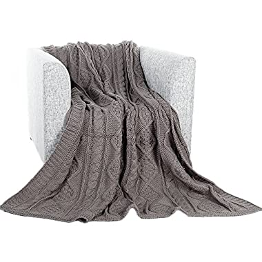 battilo Cable Knit Throw Blanket for Couch Sofa Chair Home Decorative, Grey 51 x 79 Inch
