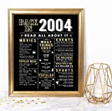 Katie Doodle 17th Birthday Decorations Anniversary Party Supplies Gifts for 17 Year Old Girl Boy - Includes 8x10 Back in 2004 Sign [Unframed], Black and Gold