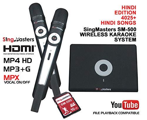 SingMasters Magic Sing Hindi Karaoke Player, 4025 Hindi Songs,13000 Engels songs,Dual draadloze microfoon,YouTube Compatible,HDMI,Song Recording,Karaoke Machine