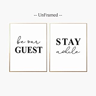 Guest Room Decor, Be Our Guest Sign, Guest Room Art, Bedroom Decor, Stay Awhile Print, Wall Poster, Wedding Table Sign, 11x14inch Unframed, Set of 2