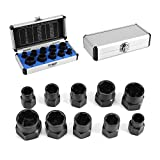 Yosoo 10 Pcs Nut Remover, Drive Socket 9-19mm Remover Set Damaged Bolt Nut Screw Remover Extractor Bolt Removal Set Locking Socket Tools Kit