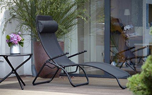 Jan Kurtz Fiam Samba Relaxliege limited Edition, Gestell: Aluminium schwarz, Bezug: Kunststoffgewebe schwarz