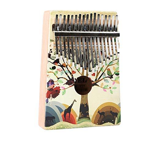 Kalimba 17-key Persoonlijkheid Schilderij Mahonie Beginner Gemakkelijk Te Muziekinstrument Te Leren 17-key Thumb Piano (Color : Multi-colored, Size : YC-05)