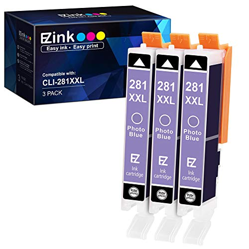 E-Z Ink (TM) Compatible Ink Cartridge Replacement for Canon CLI 281 XXL to use with PIXMA TS9120 TS8120 TS8220(Photo Blue,3Pack)