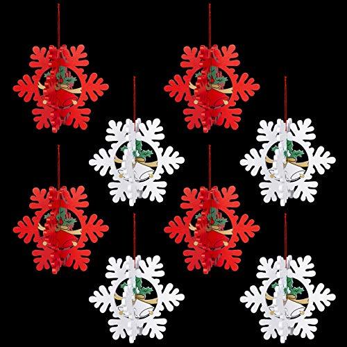 8 Pezzi 3D Natale Ornamenti in Legno, Ciondolo Albero di Natale Decorazione, Ornamenti Appesi Decorazioni Natalizie per Albero di Natale, Soffitto, Finestra, Muro