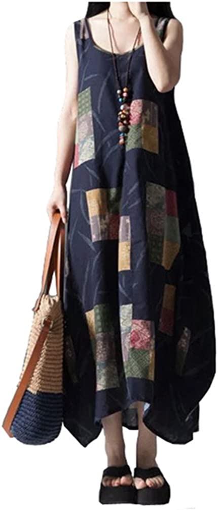 Ninmon Shares Women Linen Loose Maxi Dress Big Swing Beach Dresses
