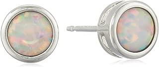 Sterling Silver Genuine and Created Gemstone 5mm Bezel Set Birthstone Stud Earrings