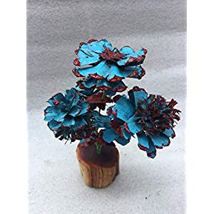 Unique flowers, Blue and red flowers trimmed from pinecones with matching pinecone leaves and beautiful manzanita base, Rose, Zinnia, Begonia, Daisy, Thistle, Chrysanthemum, Original, New