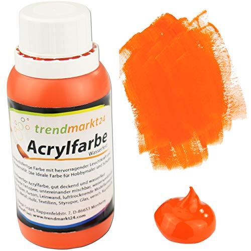 trendmarkt24 Acrylfarbe Orange 150 ml in der Tube/Flasche Malfarbe flüssig stark pigmentierte Bastelfarbe Acryl | Farbe für Holz Glas Gips Ton Metall Textilien Styropor Beton UVM.