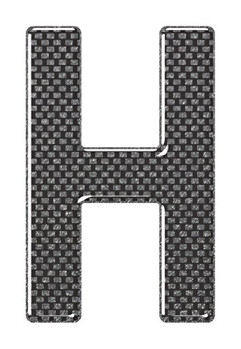 3D Resin/Gel Domed Self Adhesive Number Plate Letter 'H' (Carbon)