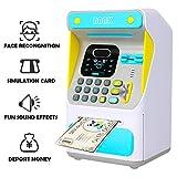 AUEYGUSE New face Recognition, Mini ATM Smart Electronic Toy Saving Bank for Kids, Save Cash Coin Code Storage Deposit Box, Digital Piggy Money Bank Machine, Children Password Lock Case(Blue)
