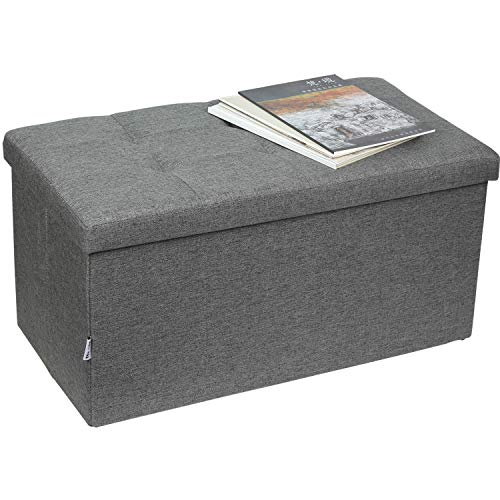 Folding Storage Ottoman, Multifunctional Storage Stool Black Storage Chest with Wooden Divider Used for Adult Sofa Stool (Grey)